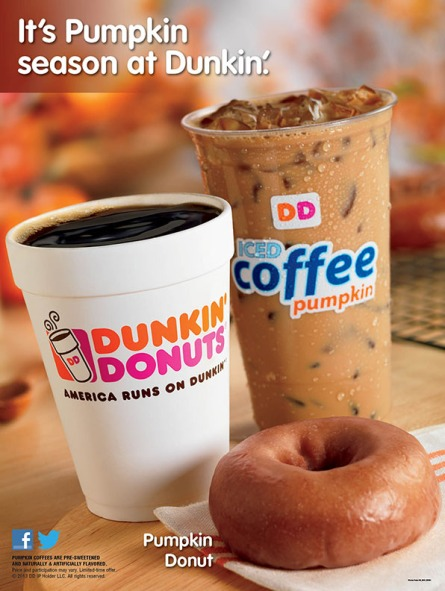 It's Pumpkin Season at Dunkin (coffee, iced pumpkin coffee, and pumpkin donut)
